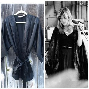 Vintage 90s Victoria's Secret Black Robe/ Duster